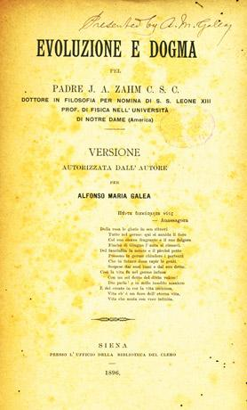 Frontispiece of Evoluzione e Dogma translated by Alfonso Maria Pace. Courtesy of the National Library