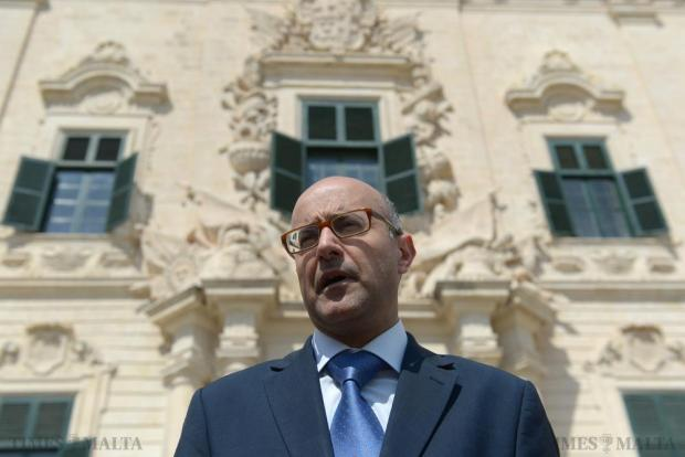 Nationalist MP Jason Azzopardi addresses the press on the steps of Auberge de Castille in Valletta on June 1. Photo: Matthew Mirabelli