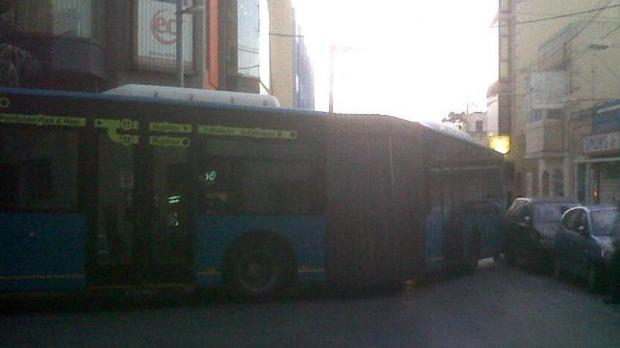 It has been tough going for the drivers too - this bendy bus got stuck near Paceville yesterday.