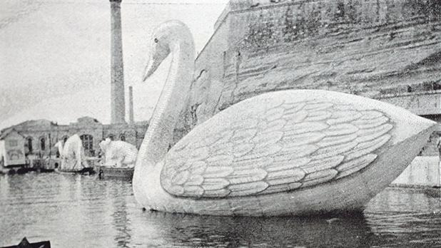 A water carnival float of a swan from HM's Dockyard.