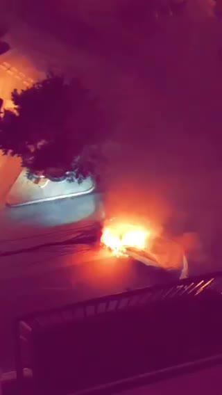 Watch: Car burns up following Rue d'Argens crash