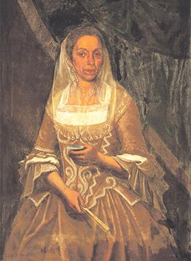 18th-century Maltese lady holding a snuff box.