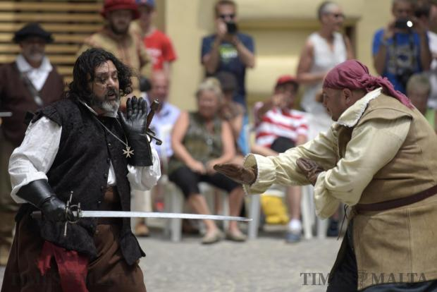 Two re-enactors battle in a dual during an In Guardia demonstration held at the President's Palace in Valletta on June 18. Photo: Mark Zammit Cordina
