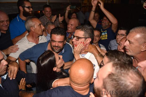 Adrian Delia is comforted by his Wife Nickie Vella De Fremeaux as the results came out stating that he will be the new Nationalist party leader in Floriana on September 18. Photo: Mark Zammit Cordina