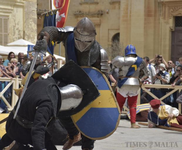 Two re-enactors fight during the Medieval Mdina Festival on April 23. Photo: Mark Zammit Cordina