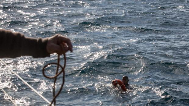 A man is rescued by the Sea-Watch 3 last month. Photo: AFP