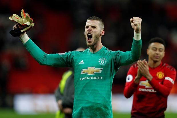 Man. United's David De Gea celebrates the win over Tottenham after goalkeeping masterclass.