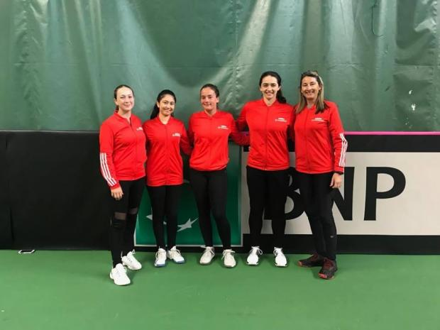 Team Malta at the Fed Cup, in Finland.
