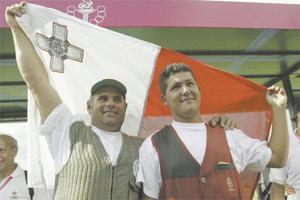 Make Malta Proud... William Chetcuti (right) with Double Trap team-mate Emmanuel Grima.