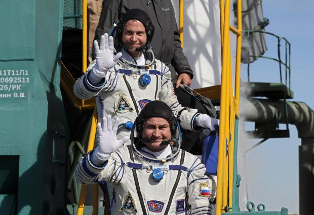International Space Station (ISS) crew members astronaut Nick Hague of the US and cosmonaut Alexey Ovchinin of Russia boarding the spacecraft before the launch.
