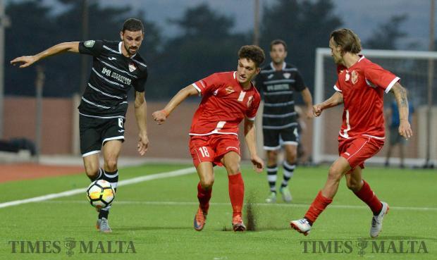 Balzan's Ryan Fenech charges forward during their BOV Premier match against Naxxar Lions, at the Centenary Stadium in Ta'Qali on August 19. Photo: Matthew Mirabelli