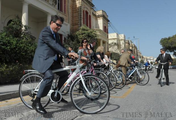 Several ambassadors to Malta prepare to cycle along the Ta' Xbiex front April 14 to raise awareness about the healthier and cleaner mode of transport. Photo: Matthew Mirabelli