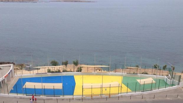 Blue lagoon: the men had just finished painting part of Bugibba's water park.
