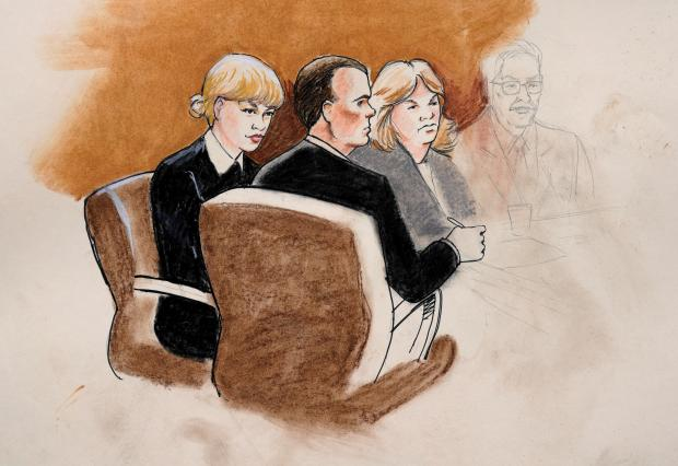 An artist's sketch of Taylor Swift during the court hearing. Photo: Reuters