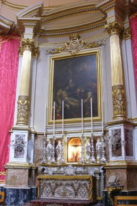 The confraternity's altar, dedicated to Our Lady of Sorrows.