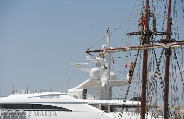 A man climbs the rigging of the tall ship ATLYA at the Grand Harbour Marina in Vittoriosa on August 30. Photo: Matthew Mirabelli