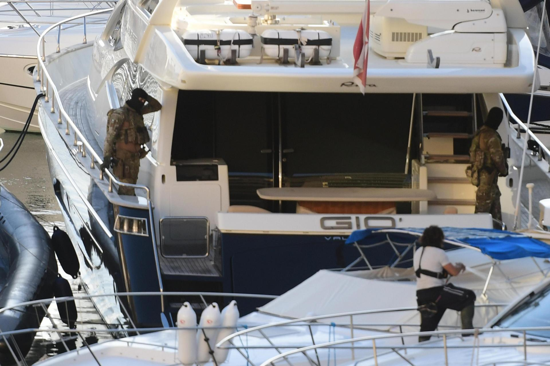 Yorgen Fenech's yacht, Gio, being searched at Portomaso marina on the morning of his arrest. Photo: Jonathan Borg