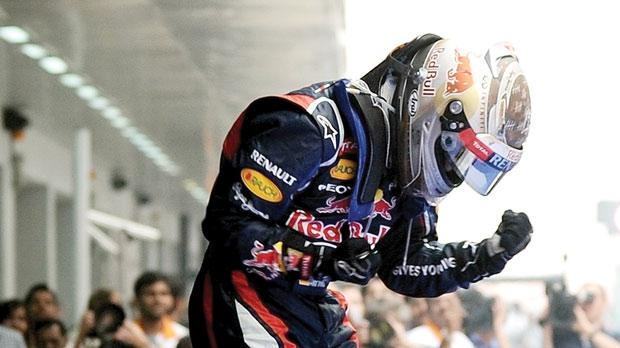 Overjoyed... Red Bull driver Sebastian Vettel celebrates after winning the Indian GP.