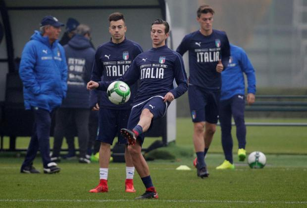 Italy's Federico Bernardeschi and Stephan El Shaarawy during training.
