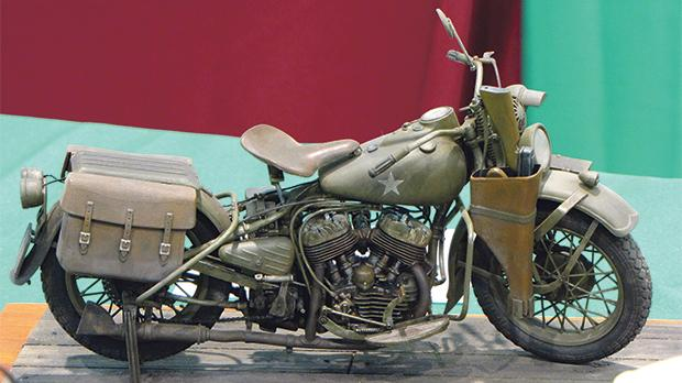 A model of a wartime motorbike.