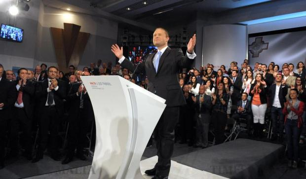 Prime Minister Joseph Muscat is welcomed by the crowd as he prepares to deliver his speech at the Labour Party Conference in Hamrun on April 10. Photo: Matthew Mirabelli