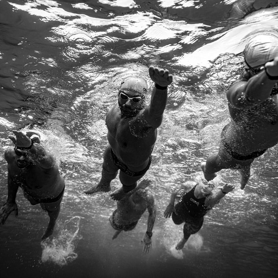 The five athletes swimming around Gozo for the #waveofchange initiative.