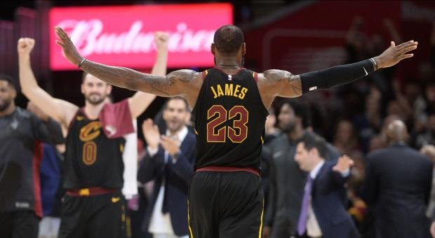 Cleveland Cavaliers forward LeBron James (23) celebrates the Cavs victory over the Washington Wizards during the second half at Quicken Loans Arena. Photo Credit: Ken Blaze-USA TODAY Sports
