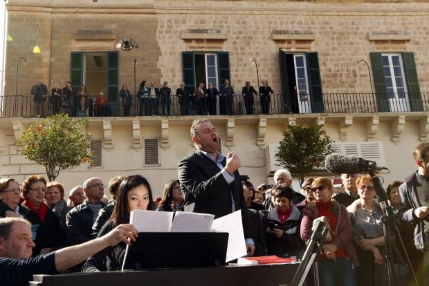 The powerful, rich voice of internationally renowned tenor Joseph Calleja fills St George's Square in Valletta on January 21. The short performance was filmed by Sky TV as part of a documentary about him. Photo: Darrin Zammit Lupi