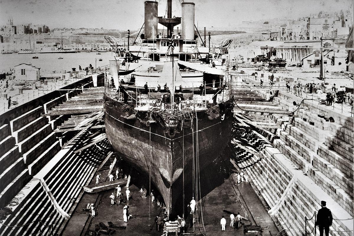 HMS Orion in the naval Dockyard, 1890s.