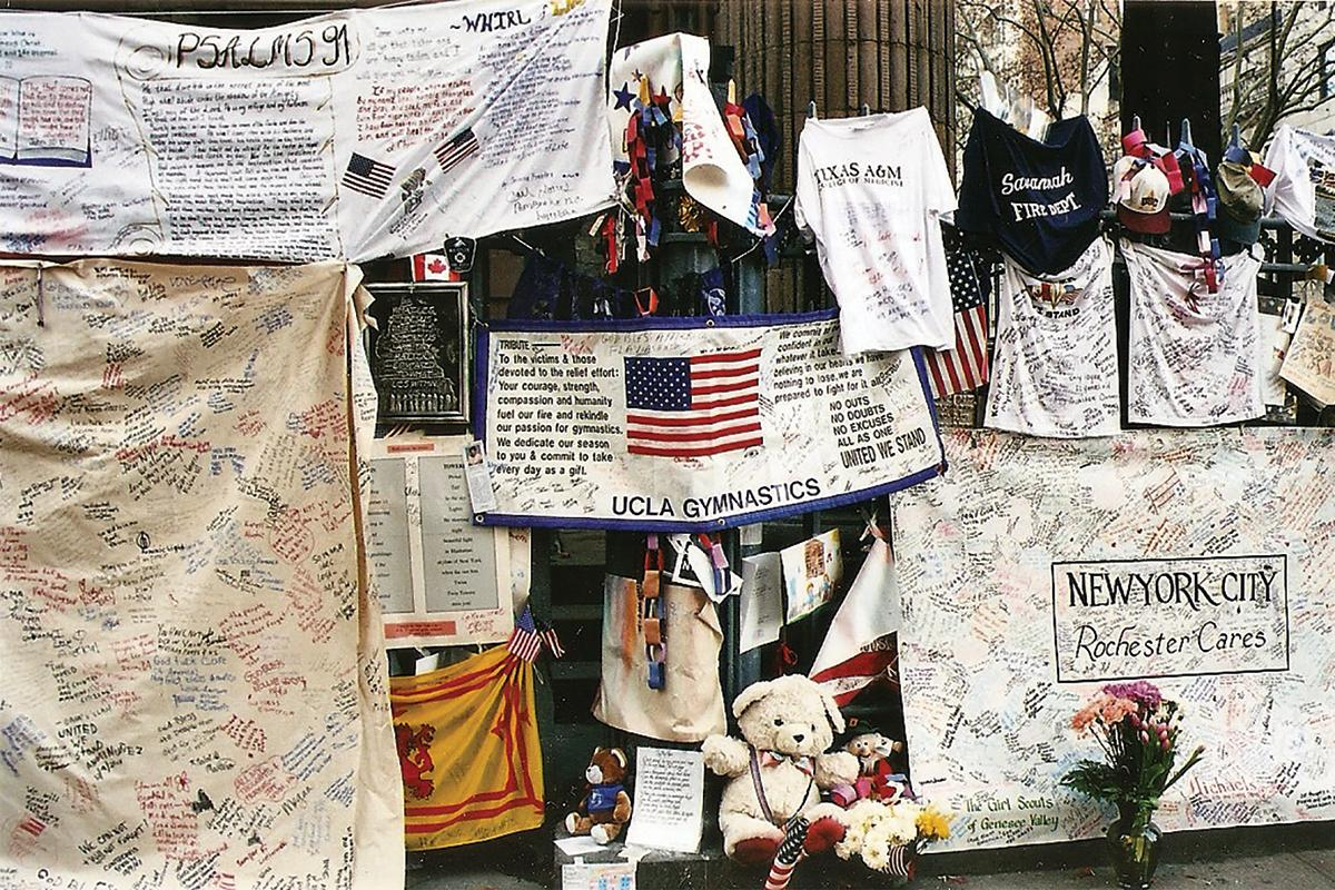 Memorabilialeft around Holy Trinity church in New York City, in memory of the deceased.
