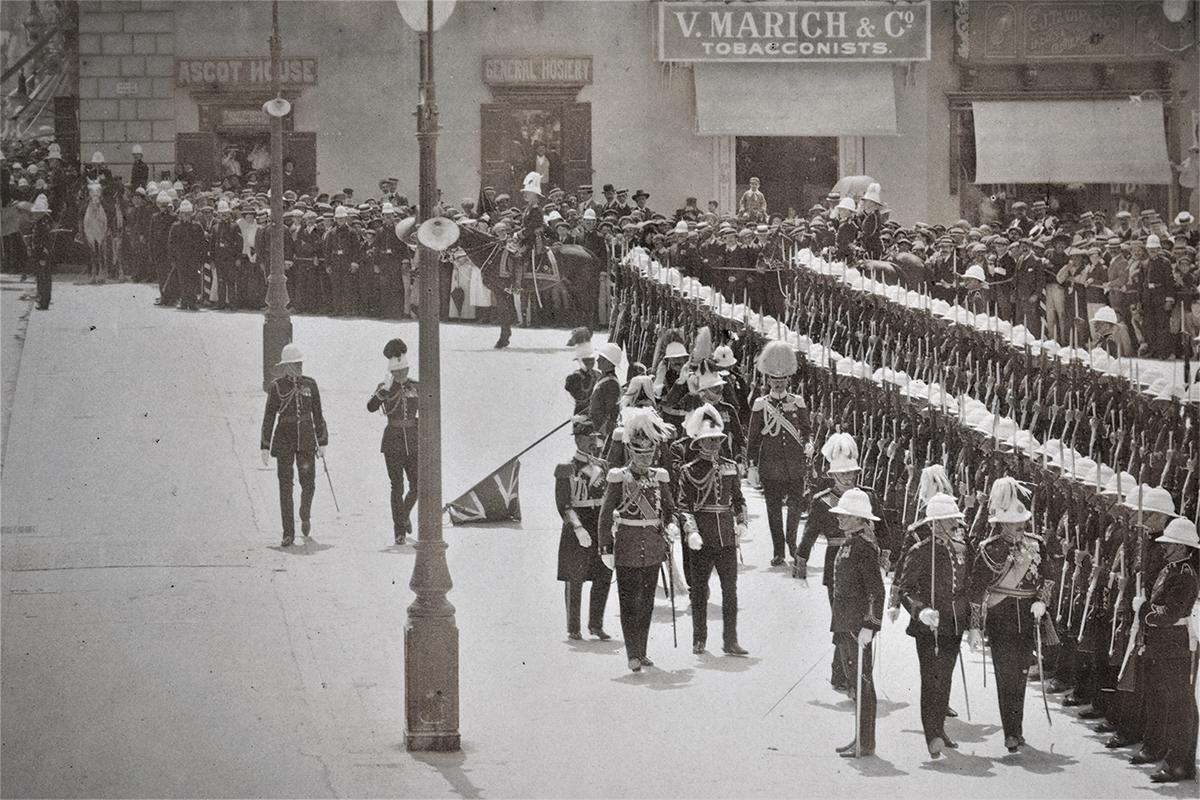 Inspecting a military parade in the capital.