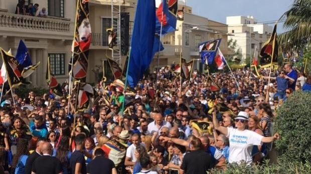 PN supporters filled Balzan's streets. Photo: Matthew Mirabelli