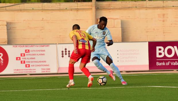 Amadou Samb scored Gżira United's goal against Senglea Athletic. Photo: Mark Zammit Cordina