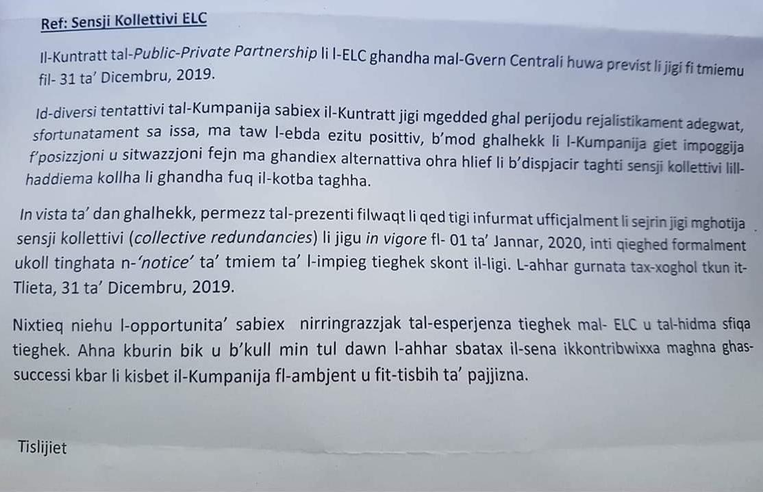 A copy of the letter sent to ELC workers.