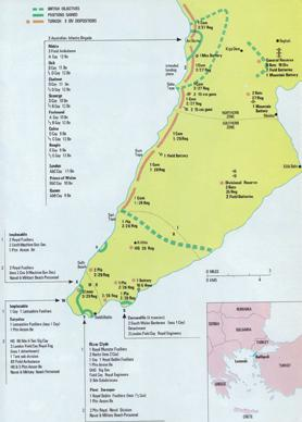 Map of the Gallipoli landings. Source: Purnell's History of the First World War