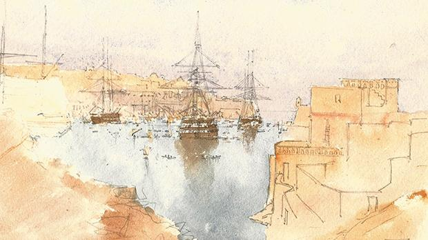 A contemporary view across the Grand Harbour by Colonel Edmund Hallewell. Photo: Author's Collection