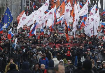 Thousands march in memory of killed Russian Opposition leader