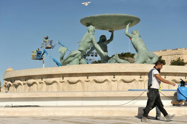 The recently restored Triton fountain outside Valletta on January 11. Photo: Chris Sant Fournier