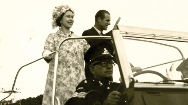 In 1967, primary school teacher Gertrude Isabel Formosa took a series of photos during the Queen's state visit. The close-up photo was taken in Floriana, where the royal couple saluted the crowds from their Land Rover, while the other (below) was taken in Paola, where primary school children lined up near the prison to salute the monarch. Photos: Gertrude Isabel Formosa