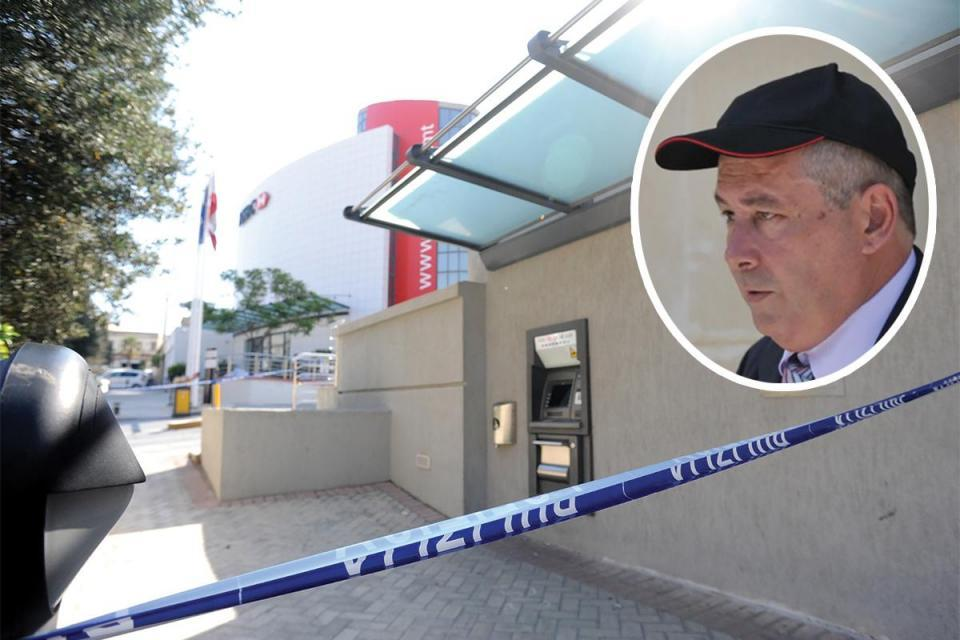 The HSBC headquarters sealed off by police after the failed heist in 2010. Photo: Matthew Mirabelli. Inset: Vince Muscat