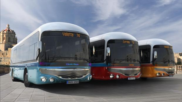 The proposal would reintroduce different colours to Malta's bus fleet.