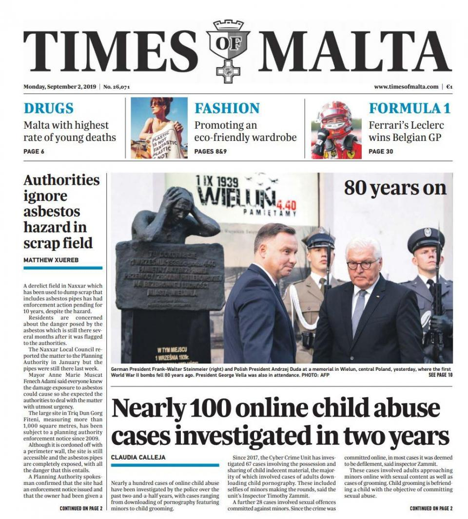 The article featured prominently in Monday's Times of Malta print edition.