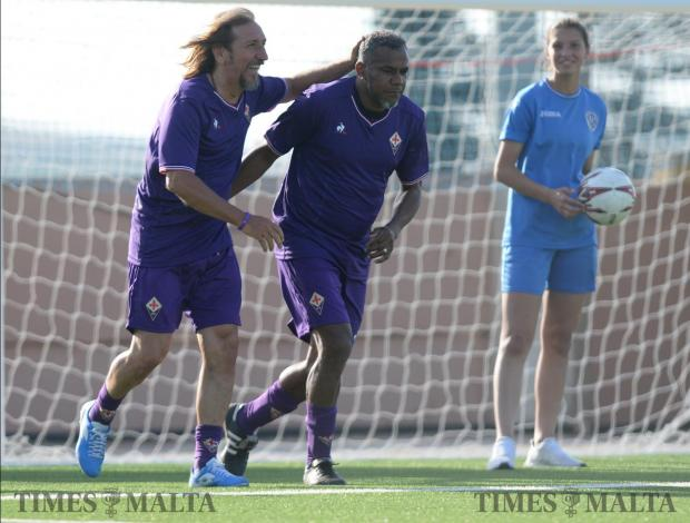 Around 600 local fans rolled back the years at the Centenary Stadium on May 27, as Glorie Viola play a local selection of former Malta players. The Viola Club Malta lined-up this friendly to mark the club's 50th anniversary. Some of Fiorentina's living legends faced the likes of Carmel Busuttil and Raymond Vella. Photo: Matthew Mirabelli