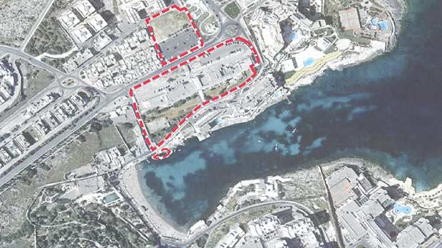 An aerial view of the site for the towers at St George's Bay, by MYGG Architecture.