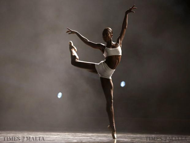 """U.S. dancer Cira Robinson performs in """"Just Dance"""", choreographed by Antonia Franceschi of the U.S., and featuring dancers from The Royal Ballet, Rambert, Ballet Black and Random Dance companies, at Pjazza Teatru Rjal in Valletta on August 9. Photo: Darrin Zammit Lupi"""