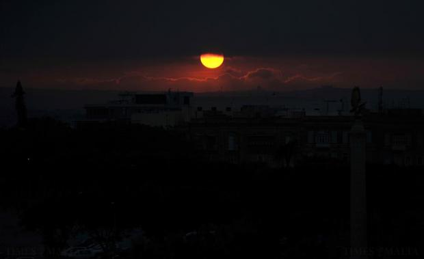 The sun sets over Floriana on January 29. Photo: Chris Sant Fournier