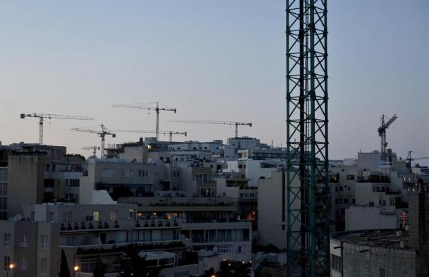 Tower cranes characterise the St Julian's skyline on April 20. Photo: Chris Sant Fournier