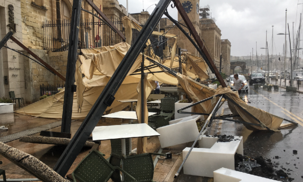 Cargo restaurant on the Vittoriosa Waterfront was caught unawares by the storm.