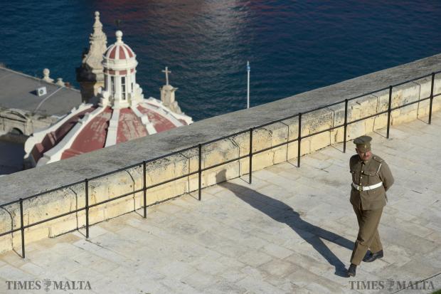 A re-enactor walks around the Saluting Battery at the Upper Barrakka Gardens in Valletta on February 4. Photo: Matthew Mirabelli