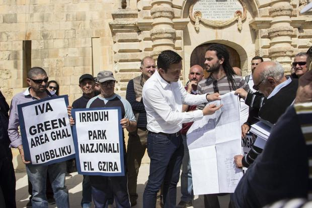 A protest held at Manoel Island last week.